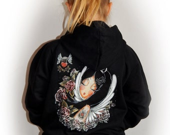 Zipped Hoody SCARLET Roses & Black Tatoo girl