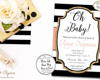 INSTANT DOWNLOAD - Black and Coral Baby Shower Invitation - Gold Glitter Baby Shower Invite - 0134
