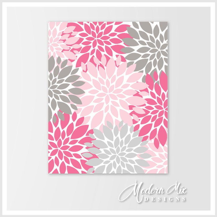 Flower burst wall art pink gray modern home decor for bathroom for Pink and grey bathroom decor
