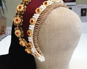 Replica Tudor Style French Hood Billiment With Jewels Based on Catherine Parr's Portrait - Featuring Synthetic Rubies