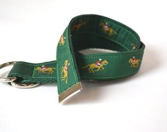 Child Belt, Horse Belt, Equestrian Belt, Toddler Ribbon Belt, Adjustable with Cotton Webbing and D-Rings
