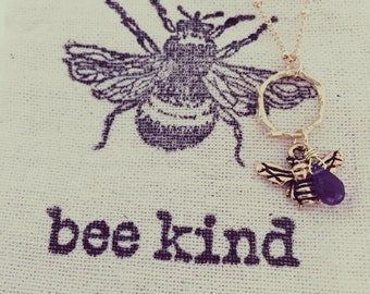 Bee Kind, Amethyst, Karma - gold plated necklace.