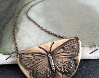 Bronze Butterfly Pendant Necklace