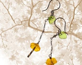 Valentines SALE Buttercup Trickle Long Dangle Earrings