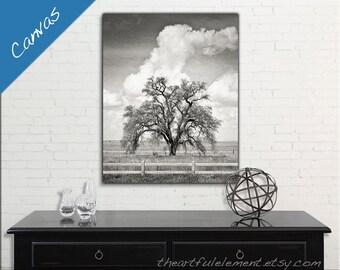 Large canvas art, Black & White canvas, Home decor wall art, oak tree art, landscape print // Mighty Oak Tree large art canvas wall decor