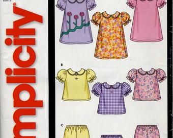 Baby girl's dress, top and gathered leg pants pattern, Simplicity 5644, sizes XXS-L