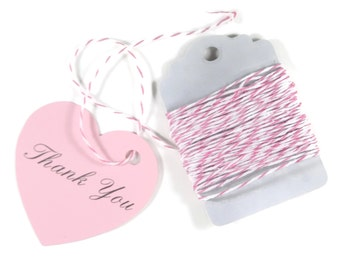 Heart Shaped Thank You Tags Set of 20 - Light Pink Heart Tags - Bridal Shower - Wedding Favor Tags - Pink Heart Tags - Baby Shower
