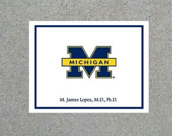University of Michigan Personalized Folded Note Card Set UofM Thank You Notes Stationary Graduation Gift