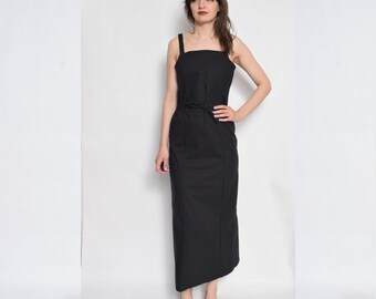 Vintage 90's Black Maxi Dress / Strappy Black Dress / Fitted Black Maxi Dress - Size Small