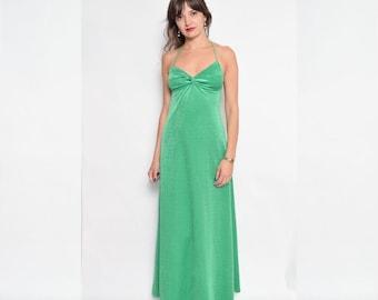 Vintage 70's Green Velvet Maxi Dress / Halter Velvet Dress / Sleeveless Velvet Maxi Dress - Size Extra Small