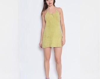Vintage 90's Suede Leather Lime Green Halter Dress