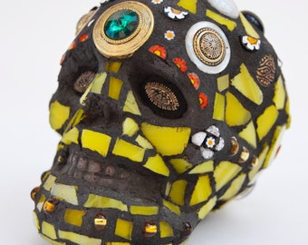 Small Mosaic Skull Ornament with Yellow Stained Glass and Jewels