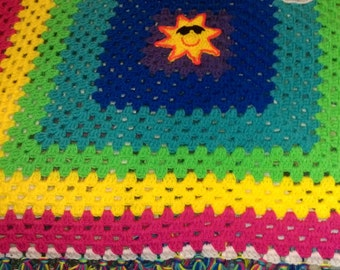 Rainbow Granny Square Crochet Baby Afghan