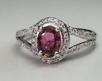 Natural Pink Tourmaline Sterling Silver Ring .67 ct.