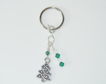 Zipper Pull Key Ring with Holiday Charm - Christmas Tree