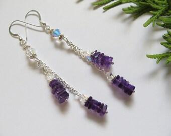 Amethyst Earrings, February Birthstone Earrings, Deep Purple Semi Precious Gemstone Sterling Silver Earrings, Swarovski Crystal Earrings