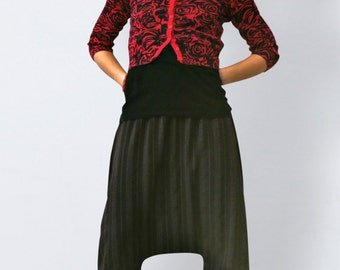 Casual pants with pinstripes elegant, sarouel, women harempants with pinstripes, drop crotch pants,bloomers, wide leg pants, baggy pants