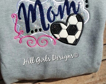 Soccer Mom appliquéd and embroidered shirt