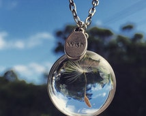 FREE SHIPPING - Dandelion Seed Necklace or Keyring - Dandelion Seed Necklace - Glass, Wish, Nature, Unique