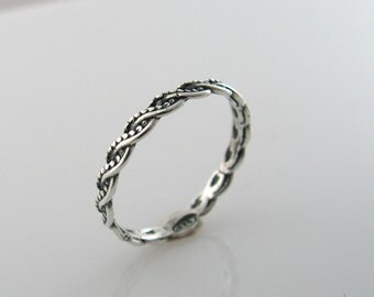 Braided silver ring. gift for her, sterling silver ring, unique ring, trendy jewelry, gift idea, everyday jewelry. (sr10154)