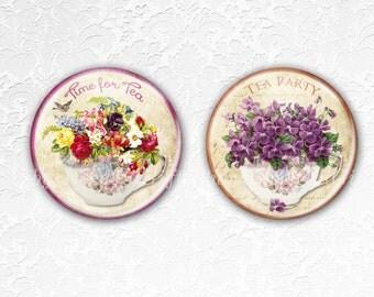 Coasters, Drink Coasters, Tea Coasters, Floral Teacup Coasters, Tableware, Hostess Gift, Birthday Gift, Best friend gift, Teacups 2,Set of 2