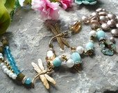 Brass dragonfly turquoise necklace, semi-precious stones, amazonite necklace, vintage inspired necklace, long antique necklace, brass toggle