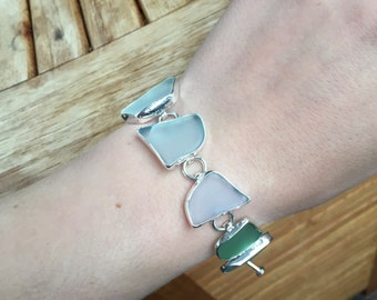 Beautiful sterling silver pale blue beach glass bracelet