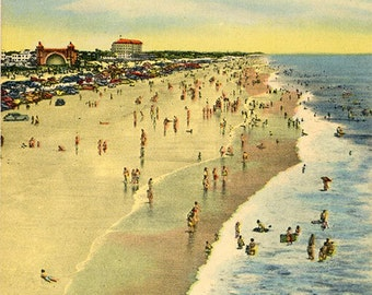 Daytona Beach Florida Vacationland Vintage Postcard (unused)