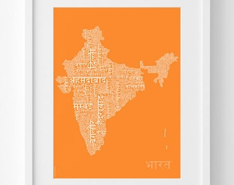 India Map in Hindi – Text Map Print – India Wall Art – India Gift – Hindi Letters – Birthday Gift – 30x40cm, 50x70cm – In Many colours