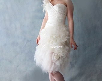 CLEARANCE- US 4-Ivory White One Shoulder Short Knee Length Lace Up Wedding Dress. Ideal For After Ceremony Festivities