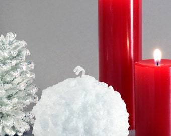 """Snowball Candle 3"""" - Winter Candle - Home Décor - Hostess Gift - Holiday Candles - Mantle Decoration Christmas Candle - Christmas Decoration"""