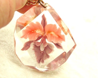 Peach, Purple Reverse Carved Orchid in Lucite Plastic Pendant with Chain, Vintage