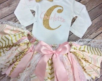 Pink and Gold Glitter 3 Piece Birthday Outfit or Pictures Outfit Including Onesie / Shirt with Initial & Name, Fabric Tutu, and Headband