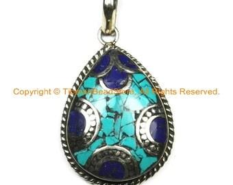 Nepal Tibetan Pendant with Turquoise, Lapis Inlays- Mosaic Inlay Boho Pendant- Nepalese Pendant- Tibetan Jewelry Teardrop Pendant- WM6340