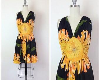 70s Black and Yellow Rhinestone Mini Dress - 1970s Vintage Sunflower Floral Print Halter Dress - Medium - Size 6