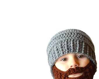 Toddler Beard Hat, Baby Boy Beard, Mens Beard Hat, Custom Beard Crochet Hat, Crochet Beard Hat, Removable Beard Hat, Knit Beard Hat, Grey