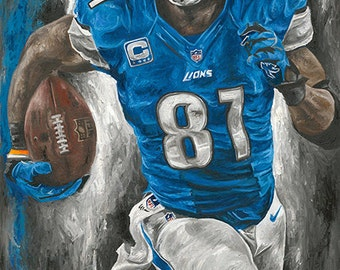 Detroit Lions Calvin Johnson Painting and Glicee Prints