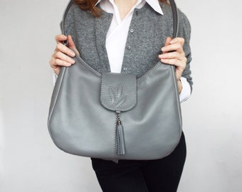 Gray leather hobo bag. Gray leather shoulder purse. Medium size leather bag.