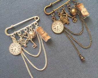 Alice in Wonderland Brooch, Alice in Wonderland Jewelry, steampunk jewelry, fantasy jewelry, steampunk brooch, clock brooch, charm brooch