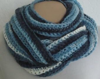 Blue extra soft crochet scarf ,ready to ship scarf ,blue crochet snood,chunky blue infinity scarf,chunky soft blue crochet infinity scarf