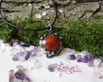 Pendant carnelian jewelry Tin elven fairy pewter color old money new art