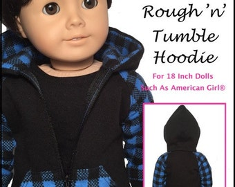 Pixie Faire QTπ Doll Clothing Rough 'n' Tumble Hoodie Doll Clothes Pattern for 18 inch American Girl Dolls - PDF