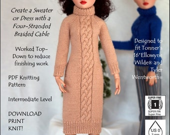 Pixie Faire Sew Cool Separates Beautiful Braid Doll Clothes Knitting Pattern For Tyler Wentworth and Ellowyne Wilde Dolls - PDF