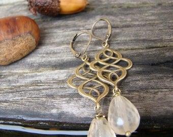 Arabesque and Champagne: Czech glass drop dangle earrings