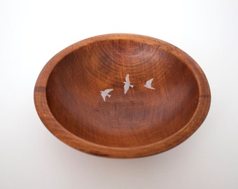 Hand Painted Wooden Bowl - Flying Birds