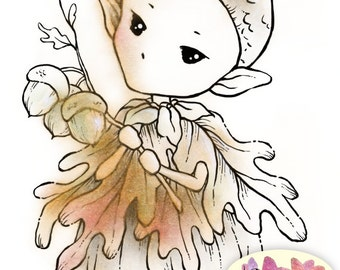 Digital Stamp - Instant Download - Acorn Sprite - digistamp - Nut Fairy - Fantasy Line Art for Cards & Crafts by Mitzi Sato-Wiuff