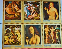 Block of 6 Nudes Fine Art Postage Stamps Famous Paintings Adam and Eve Manama Dependency of Ajman