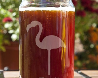 Lawn Flamingo Customizable Etched Beer Can Glass Glassware Gift