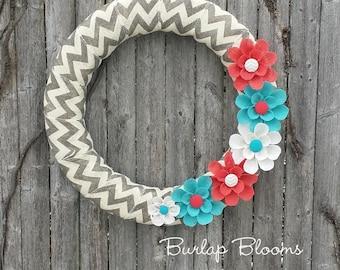 Summer Wreath, Burlap Wreath, Coral Wreath, Year Round Wreath, Beach Wreath, Front Door Wreath, Chevron Wreath