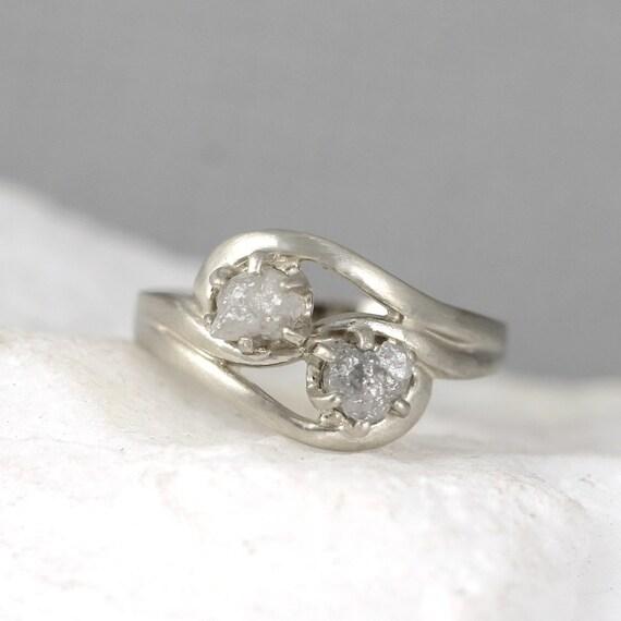 2 Stone Raw Diamond Engagement Ring Set Two Uncut Rough